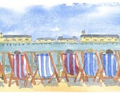 "A4 print "" Hastings Pier and Deckchairs "" from a local artist"