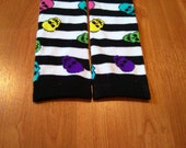 Baby/Toddler Leg Warmers - White and Black Stripes with Colorful Skulls