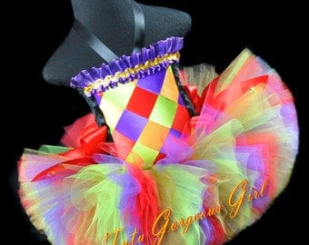 Children's Circus Clown Jester Tutu and Top...Rainbow Jester Costume...Couture Circus Clown Tutu Set...Carnival...Girls Sizes...SHOWSTOPPER