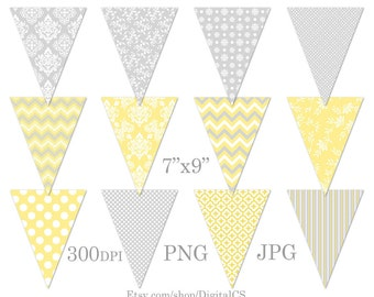 Printable bunting banner clipart  clipart bunting clip art Party decorations Baby bunting Party printables yellow grey DIY crafts