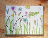 "Grasshopper greeting card, flowers, note card, ""Hop Along"", printed on 100% recycled paper"