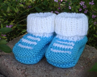 Hand Knit baby booties - Top Striper