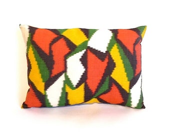 Vintage Kimono Pillow ... Handmade, Vintage Fabric, Wool, Orange Yellow Green Black,  14 x 20, Boudoir Pillow, Japanese Textile, Lightning
