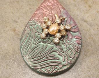 One of a Kind Butterfly Pendant Seafoam Peach Sage Green Vintage Rhinestones Bold Unique Teardrop Pendant