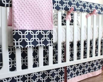 Navy Blue and Pink Girl Bumperless Crib bedding set