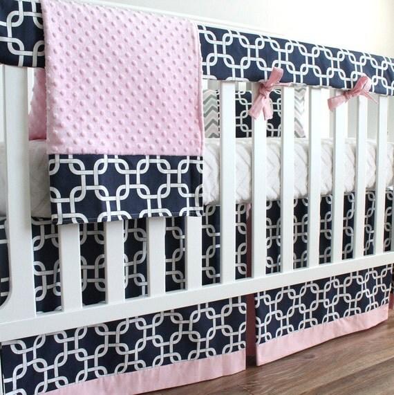Navy Blue And Pink Girl Bumperless Crib Bedding Set