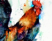 ROOSTER Watercolor Print by Dean Crouser