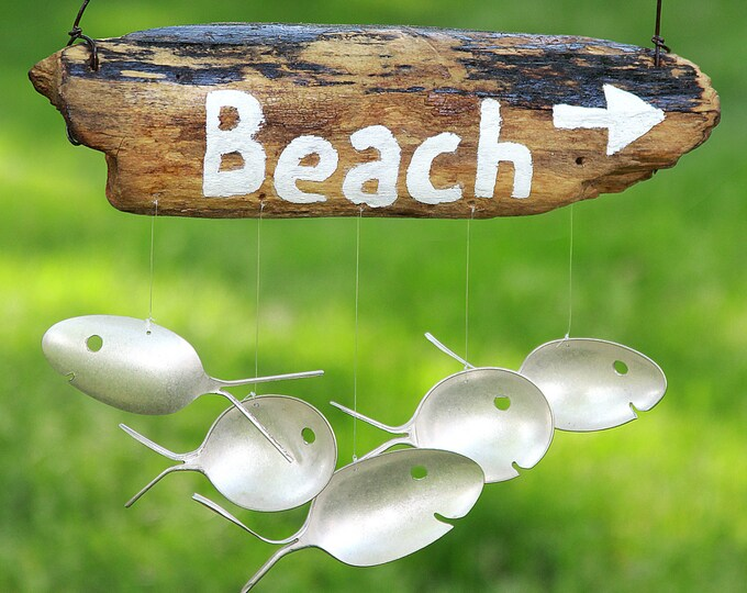 Driftwood And Spoon Fish Beach Sign,beach Chime, Wooden Beach Hanging, Windchime, Silver Spoon Fish, Large Wind Chime, Custom Wooden Sign