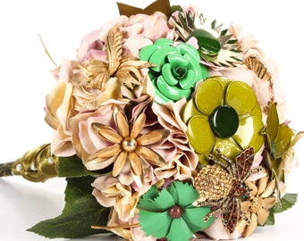 SALE Green & Gold Brooch Bouquet Silk Flowers Vintage Jewelry Handmade Fall Wedding Moss Green Ritzy Rose - In Stock Ready To Ship - 1000232