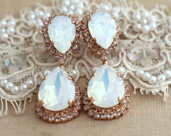 White Opal Chandelier earrings, Bridal Opal earnings, Bridal earrings, Rose Gold chandelier earrings,Drop earrings,Bridal Dangle Earrings