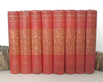 Vintage History of France Guizot Red Books Hardcover 1800s Book 8 Volume Set Gold Gilding Illustrated