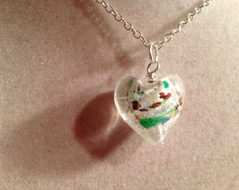 Heart Necklace - Silver Jewelry - Glass Pendant Jewellery - Fashion - Hipster - Kitsch - Love