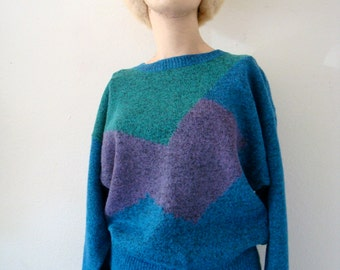 1980s Graphic Sweater / batwing oversized knit top / retro vintage