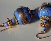 Jacaranda blue and gold Venetian glass earrings with gold findings