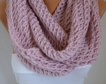 Dusty Pink  Knit Infinity Scarf,Custom Scarf, Circle Loop Scarf Glitter  Gift Ideas  for her chunky infinity scarf Women Fashion Accessories