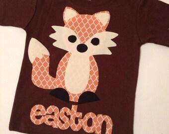 Fox Shirt, Woodland Animal, Fox Applique,  You Choose Shirt Color, Sleeve Length