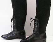 gothic knee high boots womens 7 M B black leather suede ankle rear lace fashion slouch pirate goth halloween