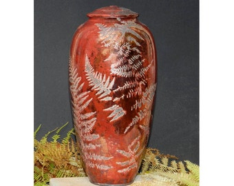 Red Fern Raku Jar,13.75 in. copper and fern detail, , for Non Perishables, and Decor.
