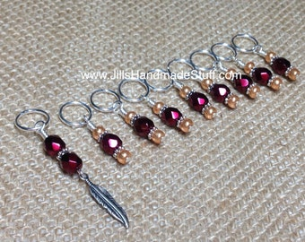 Snag Free Stitch Markers - Red Wine Feather Beaded Stitch Marker Set - Knitting Gift- Knitters Markers