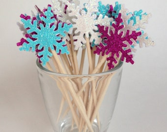 24 White Teal Pink Glitter Snowflake Cupcake Toppers - Food Picks - Party Picks