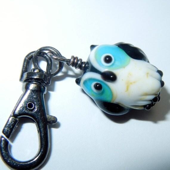 Cute Owl Zipper Pull Backpack Fob Purse Charm Lampwork Glass Gunmetal Bauble Keychain