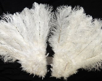 Runway Model ANGEL Wings White Ostrich Feather Wings  39 by 33 huge