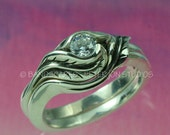 TULIP WEDDING RINGS, Engagement Ring and matching Wedding Band, made in sterling with White Sapphire