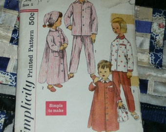 "Vintage 1950s Simplicity Pattern 2288 for Child's 2 Piece Pajama, Nightshirt and Cap Size 5, Breast 23 1/2"", Waist 21 1/2"""