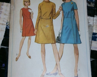 1967 Vintage Simplicity Pattern 7293 Misses A-Line Dress Size 14, Bust 34""