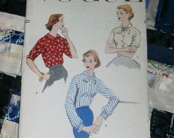 Vintage 1956 Vogue Pattern 8992 for Misses Blouse, Size 12, Bust 32""