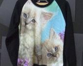 Cute cat, White cat sweater kitten pet animal shirt, Long sleeve Jumper Crewneck Sweater women/ womens winter clothing/ pullover shirt
