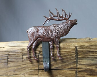 Elk Christmas Stocking Hanger,Holder-Forged Iron-Weighs 2 1/2 lbs.