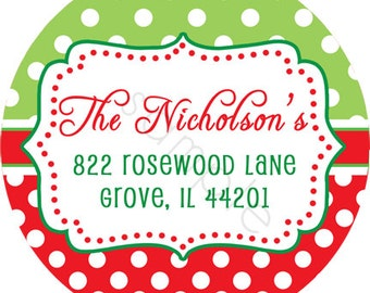 Personalized Stickers - Any Color Trendy Polka Dots Personalized Stickers - Holiday Stickers, Address Labels, Gift Stickers - Choice of Size