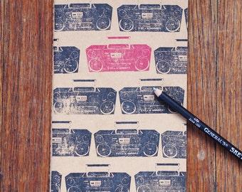 Rad Boombox notebook, large moleskine, retro music journal