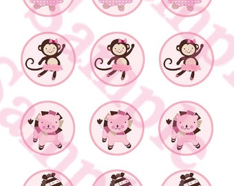 """Printable """"Tutu Cute Ballerina Animals"""" Cupcake Toppers/Stickers Instant Digital Download"""