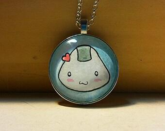 Handmade Onigiri (rice ball) Necklace- Kawaii Art Pendant