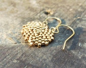 Gold dangle earrings Gypsy coin,  Dainty tribal disk  Galvanized  seed bead jewelry