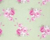 LAST YARD Fabric by the Yard Tanya Whelan Fabric Dottie Rose Slipper Roses in Green One Yard