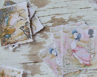 Peter Rabbit paper stamps - Scrap paper pieces - stamps - Peter Rabbit - Embellishments - decorative paper