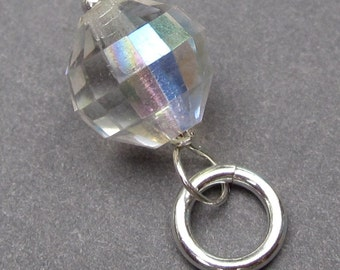 Vintage Crystal Charm Pendant Sterling Silver Wire Wrapped Dangle with Sterling Silver Jump Ring Crystal 4