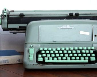 Vintage Hermes Ambassador Typewriter - Mid Century Modern Seafoam Green Manual Typewriter