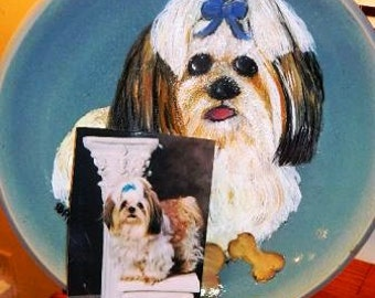 Decorative Hand Painted Pet Portrait Plate