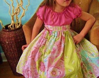 Girls Easter Dress little girls dress strip dress toddler dress girls pink aqua green damask ruffle peasant twirl modern stripwork dress