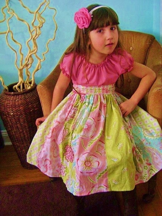 Girls Easter Dress little girls dress strip dress toddler dress girls pink aqua green damask ruffle peasant twirl modern stripwork dress