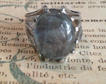 Art Deco Clark & Coombs Sterling Silver Agate Ring