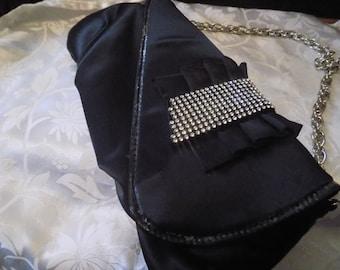 Vintage purse, elegant black satin and crystal pleated handbag, Art Deco look purse, women's accessory
