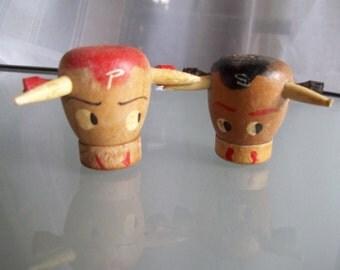Wooden Bull Salt and Pepper Shakers, Vintage Kitchen Decor, Kitschy Salt and Pepper Shakers,
