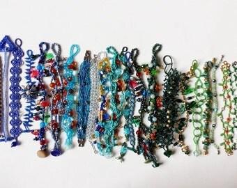 24 Beadwork Bracelets - Blue & Green Wholesale Lot Beaded