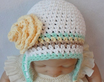 Crochet Baby Ear Flap Hat Pattern, Banana Split Baby Hat, Crochet Ear Flap Pattern