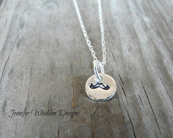 Mustache Necklace, Handstamped Necklace, Personalized Necklace, Personalized Jewelry